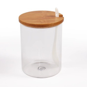 Sugar Bowl, 77L Glass Sugar Bowl with Sugar Spoon and Bamboo Lid for Home and Kitchen, Elegant Design, 12.32 OZ