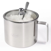Sugar Bowl, Newness Stainless Steel Sugar Bowl with Handle, Clear Lid(for better recognition) and Sugar Spoon for Home and Kitchen, Cylinder Shape, 520 ML