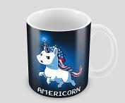 Hiros®Unicorn themed 330ml ceramic mug , American flag themed unique designed mug , Christmas gift idea for anyone.