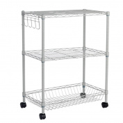 HYDT Racks Multi-function basket with basket storage racks metal finishing rack three removable shelves