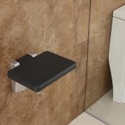 Folding Wall Bench Shower Seat Wall Chair Bathroom Stool Footstool Black PU Board
