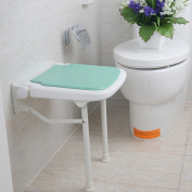 Folding Wall Bench Shower Seat Wall Chair Bathroom Stool Footstool With Legs 38*36.5cm