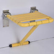 TSAR003 Enhanced Stainless Steel Bathroom Folding Shower Seat Wall Mounted Specifically For Fat Person / The Elderly /Disabled People,Yellow.45cm * 38cm * 42cm , 250kg Load