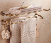 Hctina Towel Rack Bathroom Kitchen Wall Mounted Towel Bar Rail Shelf Storage Holder You Can Fold,60*25Cm