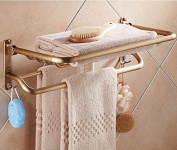 Hctina Towel Rack Bathroom Kitchen Wall Mounted Towel Bar Rail Shelf Storage Holder You Can Fold,60*27Cm