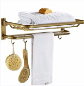 Hctina Towel Rack Bathroom Kitchen Wall Mounted Towel Bar Rail Shelf Storage Holder Copper Folding,57*15Cm