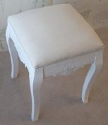 Devon White Painted Upholstered Stool in Shabby Chic Stylish French Design