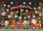 Christmas Decoration Window Glass Stickers Merry Christmas Santa Claus Snow PVC Removable Wall Sticker for Xmas Home Decals #2