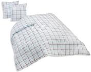 Comptoir du Linge Printed Duvet Cover plus 2 Pillowcases, Cotton, Turquoise, 240 x 220 x 0.5 cm