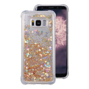 Galaxy S8 Plus Gel Case, Galaxy S8 Plus Back Cover Case Rosa Schleife Bling Glitter Flowing Liquid Quicksand Transparent Clear Soft TPU Gel Cover Phone Case Protective Cases Covers for Samsung S8 Plus