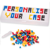Pencil Case - Personalise box with micro bricks - for Boys Girls and Adults use for School or Work - Microbrix