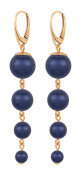 ARLIZI earrings 925 silver 18ct rose gold plated blue pearls 1339