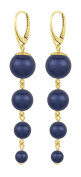 ARLIZI earrings 925 silver 24ct gold plated blue pearls 1338