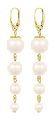 ARLIZI earrings 925 silver 24ct gold plated cream pearls 1336