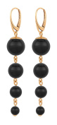 ARLIZI earrings 925 silver 18ct rose gold plated black pearls 1334