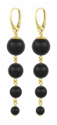 ARLIZI earrings 925 silver 24ct gold plated black pearls 1333