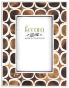 Eccolo World Traveller Naturals Wood Photo Frame, 10cm x 15cm , Brown Circles/Stars, Geometric