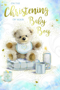 On The Christening Of Your Baby Boy Bear Bib Blanket Candles & Cup Design Card
