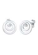 Diamore Women 925 Silver Silver Round Diamond Stud Earrings
