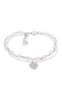 Elli Women Heart Circle Summer Crystals 925 Sterling Silver Bracelet of Length 16cm