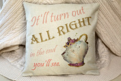 "princess belle beauty and the beast water colour mr potts quote inspired "" it will be all right in the end"" cushion cover 45 by 45 cm beautiful gift"