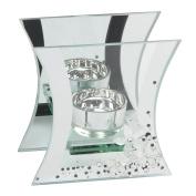 Hestia Mirror Glass & Crystal T Lite Holder Flute Shaped