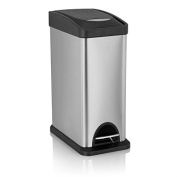 Fortune Candy Rectangle Step Trash Can Stainless Steel with Dent Proof Plastic Lid, 7.9l/ 8L