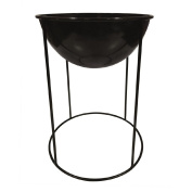 Living & Co Metal Pot with Stand Black