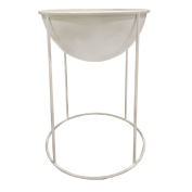 Living & Co Metal Pot with Stand White