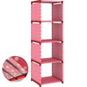 GOOTRADES Portable Bookshelf For Children, Multifunctional Shelf, Pink with White Points - 41.5*26*124.5cm - 1.3 KG