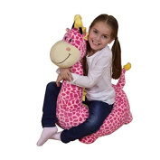 Children's Plush Giraffe Riding Chair - Available in Pink or Brown - Free Delivery