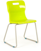 Titan Skid Classroom Chair, Plastic, Lime, Size 3, Ages 5-7, Plastic, Lime