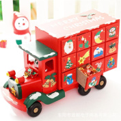 Wood Christmas Truck Calendar Countdown Candy Drawer, Indexp Multifunctional Crafts Home Decoration Ornament Toy Gift Set