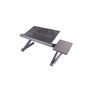 Foldable notebook computer table Aluminium alloy adjustable with fan mouse drag