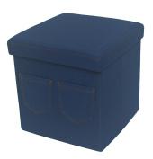 Denim Jeans Ottoman Foldable Storage Seat Stool Toy Box