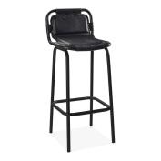 Cult Living Jupiter Industrial Metal Bar Chair, Genuine Leather, Black