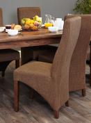Baumhaus Walnut Full Back Upholstered Dining Chair - Hazelnut