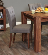 Baumhaus Walnut Flare Back Upholstered Dining Chair - Slate