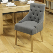 Baumhaus Oak Accent Upholstered Dining Chair - Slate
