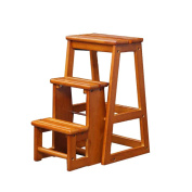 YAnFAn & Chairs Modern Concise Multifunction Home Solid Wood Three Layers Stairs Stool Dual-use Fold Ladder Chairs for Kitchen Home & Commercial