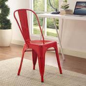 WE Furniture AZH33MCRD Metal Café Chair, Red