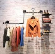 Coat Racks, Shoe Rack,Bag Rack,Clothing Store Racks,Retro Iron Water Pipe Clothing Display Stand, Wooden Wall-mounted Hanging Display Stand