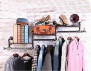 Coat Racks Clothing Store Clothing Wooden Display Stand Retro Iron Water Pipe Wall-mounted Side-mounted Hanging Racks Shelves Racks
