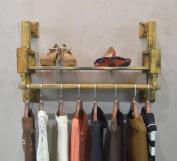Coat Racks Clothing Store Clothing Display Stand Retro Solid Wood Wall-mounted Side-mounted Hanging Racks Shelves Racks