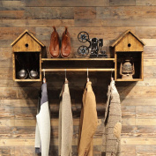 Coat Racks Clothing Store Clothing Display Stand Retro Wooden Wall-mounted Side-mounted Hanging Racks Shelves Racks
