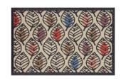 Lume Allover Stencil Leaf Design by Turtle Mat Indoor Washable Nylon Multi-Grip Mat - 50X75cm