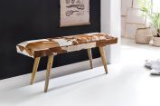 WOHNLING made of genuine goatskin brown white 120 x 40 x 52cm Design Flurbank Decoration | Bench for bedroom upholstered country house upholstery bench