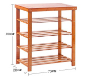 ZHDC® Shoe rack multi - layer simple solid wood Shoebox for shoes stool bamboo storage rack assembly of modern simple dust - proof shoe rack Saving space