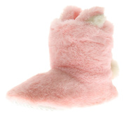 Wynsors New Girls/Childrens Pink Faux Fur Bunny Rabbits Bootee Slippers - Pink - UK Sizes 1-13