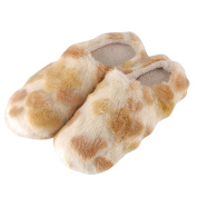 YUTIANHOME Girls' Slippers Leopard Cotton Washable Soft Warm Non-slip Flat Closed Toe Indoor Home Bedroom Shoes